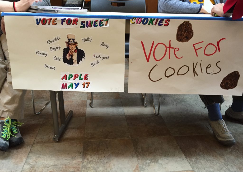 """Photo of """"Vote for Sweet"""" sign at Churchill's mock election"""